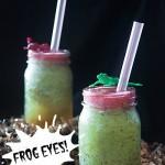 Frog Smoothie with Eyeballs: Kiwi, Strawberry and Boba {Healthy Food for Halloween}