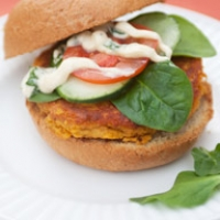 Sweet Potato and Chickpea Burgers with Curry Basil Aioli