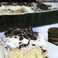 Oreo Poke Cake with Homemade Whipped Cream