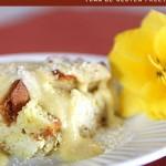 Pina Colada Bread Pudding with Coconut Creme Anglaise