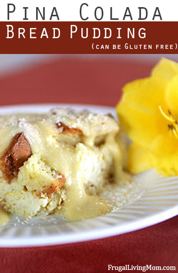 Pina Colada Bread Pudding with Coconut Creme Anglaise